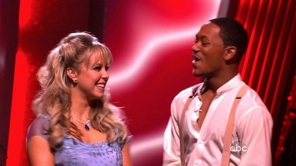 Romeo and his partner Chelsie Hightower react to being safe from elimination. The received 28 out of 30 from the judges for their Waltz on week six of 'Dancing With The Stars' on Monday, April 25, 2011.
