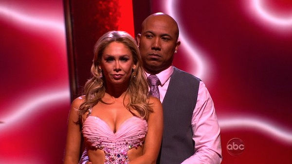 Hines Ward and his partner Kym Johnson await possible elimination. The couple 27 out of 30 from the judges for their Viennese Waltz on week six of 'Dancing With The Stars' on Monday, April 25, 2011.