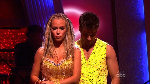 Kendra Wilkinson and her partner Louis van Amstel await possible elimination. The couple received 25 out of 30 from the judges for their Samba on week six of 'Dancing With The Stars' on Monday, April 25, 2011.