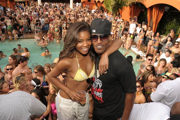 Gabrielle Union and Jamie Foxx attend TAO Beach season opening at the Venetian on April 2, 2011 in Las Vegas, Nevada.