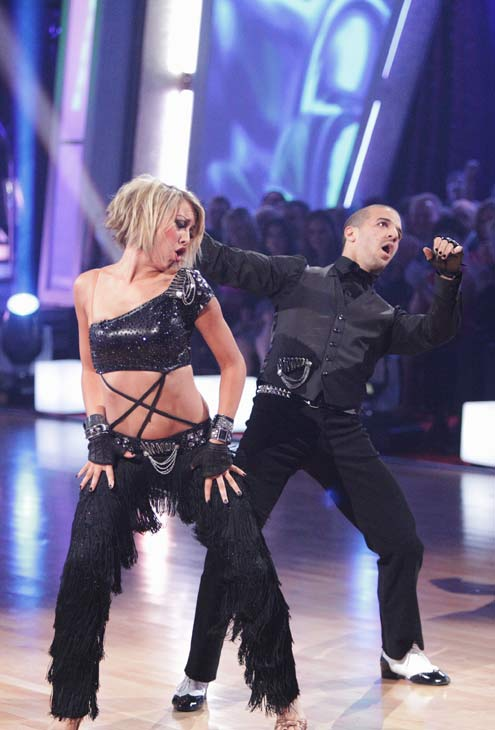 Chelsea Kane and her partner Mark Ballas do a...