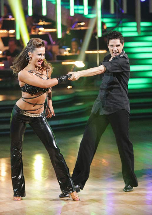 "<div class=""meta ""><span class=""caption-text "">Ralph Macchio and his partner Karina Smirnoff do a very fun and very energetic Cha Cha to Lady Gaga's 'Born this Way' for the group dance.  Their team scores a 30 out of 40. (ABC Photo/ Adam Taylor)</span></div>"