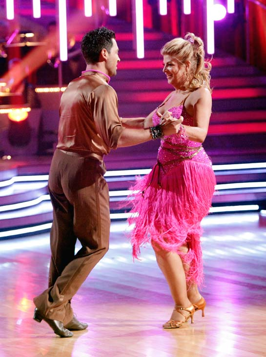 "<div class=""meta ""><span class=""caption-text "">Kirstie Alley and her partner Maksim Chmerkovskiy shook all that they've got to Ke$ha's song 'We R Who We R' for the group dance.  Their team scores a 30 out of 40. (ABC Photo/ Adam Taylor)</span></div>"
