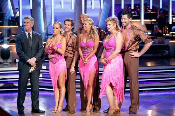 "<div class=""meta ""><span class=""caption-text "">Hines Ward, Kirstie Alley, and Kendra Wilkinson shook all that they've got to Ke$ha's song 'We R Who We R' for the group dance.  Their team scores a 30 out of 40. (ABC Photo/ Adam Taylor)</span></div>"