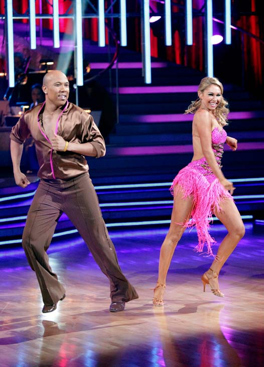 Hines Ward and his partner Kym Johnson shook all that they&#39;ve got to Ke&#36;ha&#39;s song &#39;We R Who We R&#39; for the group dance.  Their team scores a 30 out of 40. <span class=meta>(ABC Photo&#47; Adam Taylor)</span>