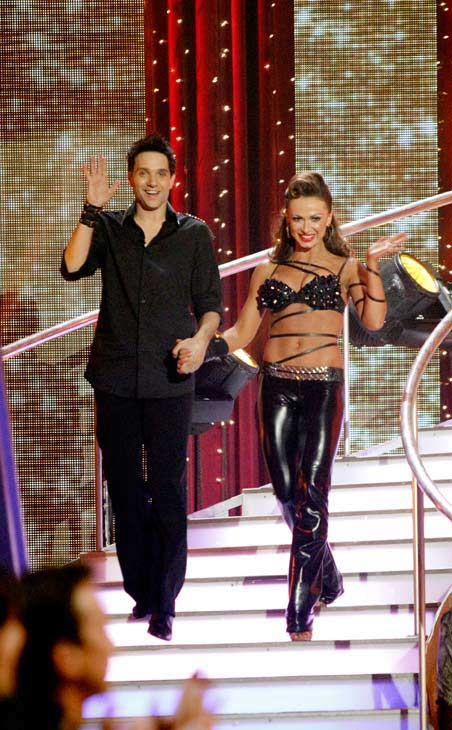 Ralph Macchio and his partner Karina Smirnoff do a very fun and very energetic Cha Cha to Lady Gaga's 'Born this Way' for the group dance.  Their team scores a 30 out of 40.