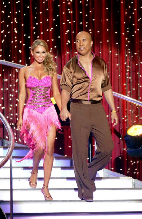 Hines Ward and his partner Kym Johnson shook all that they've got to Ke$ha's song 'We R Who We R' for the group dance.  Their team scores a 30 out of 40.