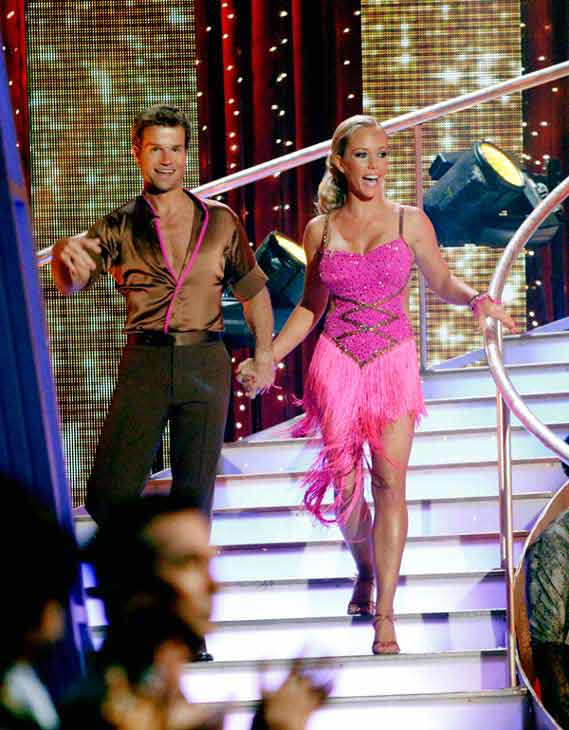 Kendra Wilkinson and her partner Louis van Amstel shook all that they've got to Ke$ha's song 'We R Who We R' for the group dance.  Their team scores a 30 out of 40.