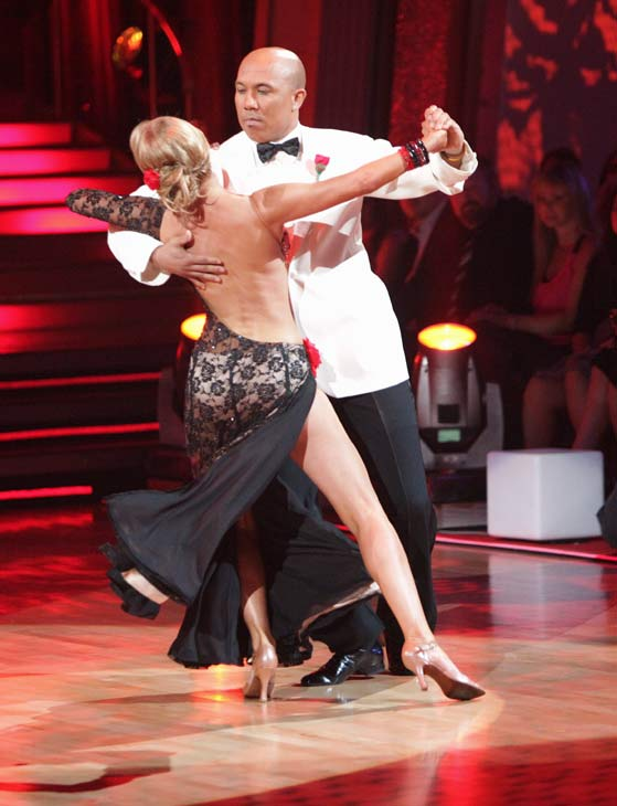 "<div class=""meta image-caption""><div class=""origin-logo origin-image ""><span></span></div><span class=""caption-text"">Hines Ward and his partner Kym Johnson received 36 out of 40 from the judges for their Tango on week seven of 'Dancing With The Stars.' The two also scored a 30 out of 40 for their team Cha Cha, making their score a total of 66 out of 80. (ABC Photo/ Adam Taylor)</span></div>"