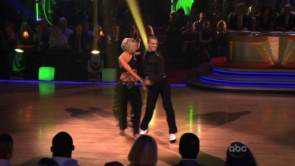 "<div class=""meta ""><span class=""caption-text "">Chelsea Kane and her partner Mark Ballas do a very fun and very energetic Cha Cha to Lady Gaga's 'Born this Way' for the group dance.  Their team scores a 30 out of 40. (OTRC Photo)</span></div>"