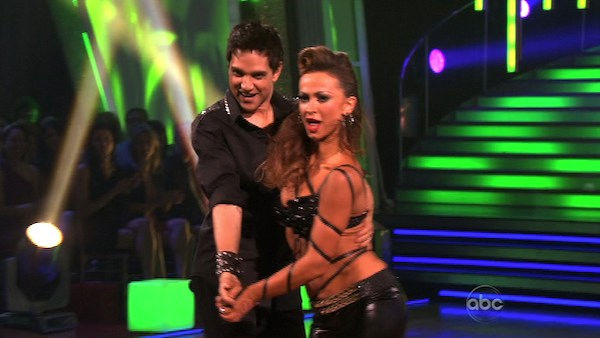 "<div class=""meta ""><span class=""caption-text "">Ralph Macchio and his partner Karina Smirnoff do a very fun and very energetic Cha Cha to Lady Gaga's 'Born this Way' for the group dance.  Their team scores a 30 out of 40. (OTRC Photo)</span></div>"