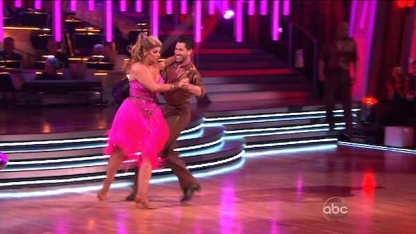 "<div class=""meta ""><span class=""caption-text "">Kirstie Alley and her partner Maksim Chmerkovskiy shook all that they've got to Ke$ha's song 'We R Who We R' for the group dance.  Their team scores a 30 out of 40. (OTRC Photo)</span></div>"