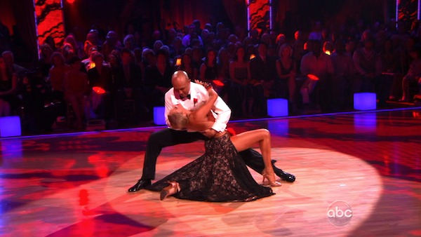 "<div class=""meta ""><span class=""caption-text "">Hines Ward and his partner Kym Johnson received 36 out of 40 from the judges for their Tango on week seven of 'Dancing With The Stars.' The two also scored a 30 out of 40 for their team Cha Cha, making their score a total of 66 out of 80. (OTRC Photo)</span></div>"