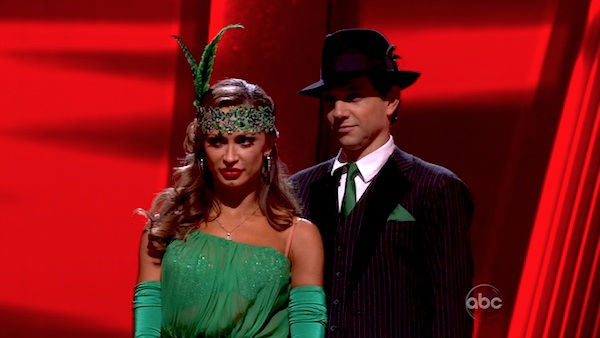 "<div class=""meta ""><span class=""caption-text "">Ralph Macchio and his partner Karina Smirnoff await possible elimination. The couple received a 36 out of 40 from the judges for their Quickstep on week seven of 'Dancing With The Stars.' The two also scored a 30 out of 40 for their team Cha Cha, making their score a total of 66 out of 80 on week seven of 'Dancing With The Stars' on Monday, May 2, 2011.  (OTRC Photo)</span></div>"