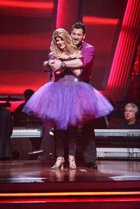 Kirstie Alley and her partner Maksim Chmerkovskiy react to being safe from elimination. The couple received a 30 out of 40 from the judges for their Jive. The two also scored a 30 out of 40 for their team Cha Cha, making their score a total of 60 out of 8