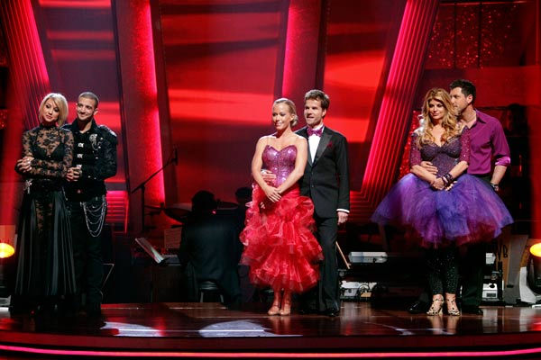 Kendra Wilkinson, Louis van Amstel, Chelsea Kane, Mark Ballas, Kirstie Alley and her partner Maksim Chmerkovskiy await possible elimination on 'Dancing With The Stars: The Result Show' on Tuesday, May 3, 2011.