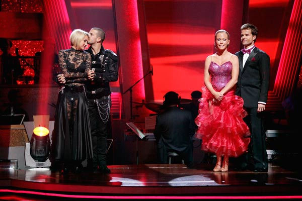 Kendra Wilkinson, Louis van Amstel, Chelsea Kane and her partner Mark Ballas await possible elimination on 'Dancing With The Stars: The Result Show' on Tuesday, May 3, 2011.