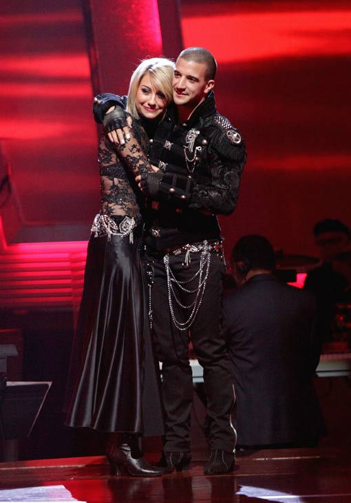 Chelsea Kane and her partner Mark Ballas await possible elimination on 'Dancing With The Stars: The Result Show' on Tuesday, May 3, 2011.