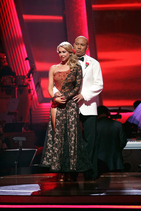"<div class=""meta image-caption""><div class=""origin-logo origin-image ""><span></span></div><span class=""caption-text"">Hines Ward and his partner Kym Johnson await possible elimination. The couple received a 36 out of 40 from the judges for their Tango on week seven of 'Dancing With The Stars.' The two also scored a 30 out of 40 for their team Cha Cha, making their score a total of 66 out of 80 on week seven of 'Dancing With The Stars' on Monday, May 2, 2011.  (ABC Photo/ Adam Taylor)</span></div>"