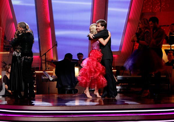 Kendra Wilkinson and her partner Louis van Amstel react to being eliminated from ABC's hit ballroom dancing competition series on Tuesday, May 3, 2011. The pair received 31 out of 40 from the judges for their Tango on week seven of 'Dancing With The Stars