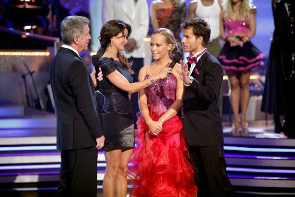 Kendra Wilkinson and her partner Louis van Amstel react to being eliminated from ABC&#39;s hit ballroom dancing competition series on Tuesday, May 3, 2011. The pair received 31 out of 40 from the judges for their Tango on week seven of &#39;Dancing With The Stars.&#39; The two also scored a 30 out of 40 for their team Cha Cha, making their score a total of 61 out of 80. <span class=meta>(ABC Photo&#47; Adam Taylor)</span>