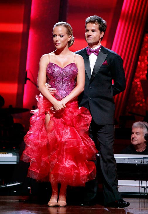 Kendra Wilkinson and her partner Louis van Amstel await possible elimination on &#39;Dancing With The Stars: The Result Show&#39; on Tuesday, May 3, 2011. <span class=meta>(ABC Photo&#47; Adam Taylor)</span>