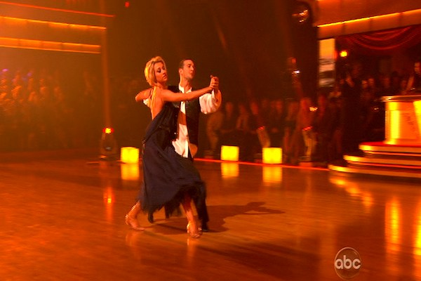 "<div class=""meta ""><span class=""caption-text "">Chelsea Kane and her partner Mark Ballas dance a Waltz and a Salsa on week eight of 'Dancing With The Stars.' The judges gave the couple 29 out of 30 for their Waltz and 26 points out of 30 for their Salsa. The couple earned a total of 55 out of 60. (OTRC)</span></div>"