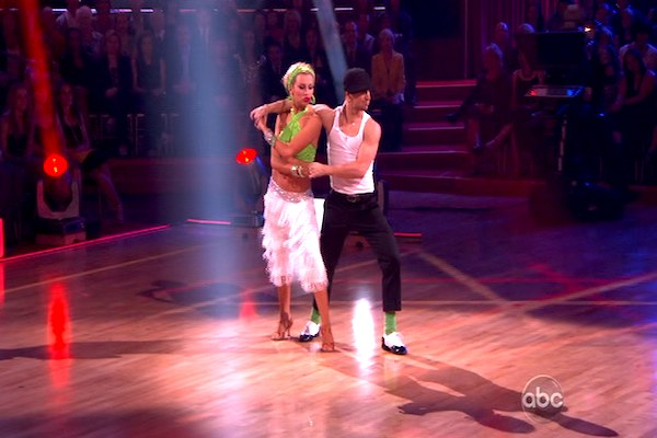 "<div class=""meta image-caption""><div class=""origin-logo origin-image ""><span></span></div><span class=""caption-text"">Chelsea Kane and her partner Mark Ballas dance a Waltz and a Salsa on week eight of 'Dancing With The Stars.' The judges gave the couple 29 out of 30 for their Waltz and 26 points out of 30 for their Salsa. The couple earned a total of 55 out of 60. (OTRC)</span></div>"