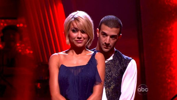 Chelsea Kane and her partner Mark Ballas await possible elimination. The couple received 29 out of 30 for their Waltz and 26 points out of 30 for their Salsa, making their score a total of 55 out of 60 on week eight of &#39;Dancing With The Stars&#39; on Monday, May 10, 2011.   <span class=meta>(ABC Photo)</span>