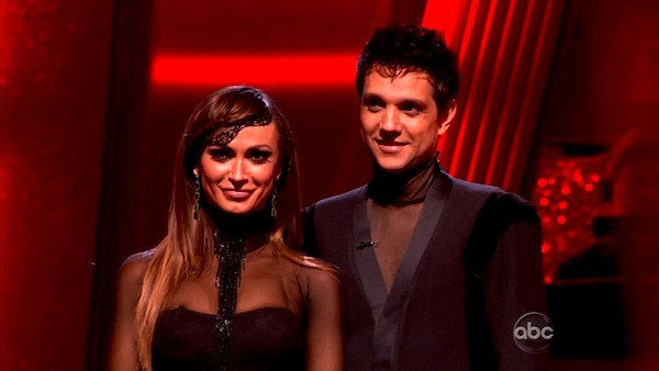Ralph Macchio and his partner Karina Smirnoff await possible elimination. The couple received 25 out of 30 for their Argentine Tango and 21 points out of 30 for their Cha Cha, making their score a total of 56 ou
