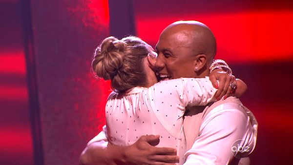 Hines Ward and his partner Kym Johnson react to being safe from elimination. The couple received 28  out of 30 for their Fox Trot and 26 points out of 30 for their Jive, making their score a total of  53 out of 60 on week eight of &#39;Dancing With The Stars&#39; on Monday, May 10, 2011. <span class=meta>(ABC Photo)</span>