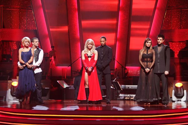 Chelsea Kane and her partner Mark Ballas, Romeo and his partner Chelsie Hightower and Ralph Macchio and his partner Karina Smirnoff await possible elimination. <span class=meta>(ABC Photo&#47; Adam Taylor)</span>