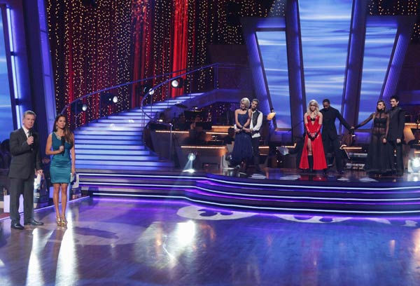 Chelsea Kane and her partner Mark Ballas, Romeo and his partner Chelsie Hightower and Kirstie Alley and her partner Maksim Chmerkovskiy await possible elimination. <span class=meta>(ABC Photo&#47; Adam Taylor)</span>