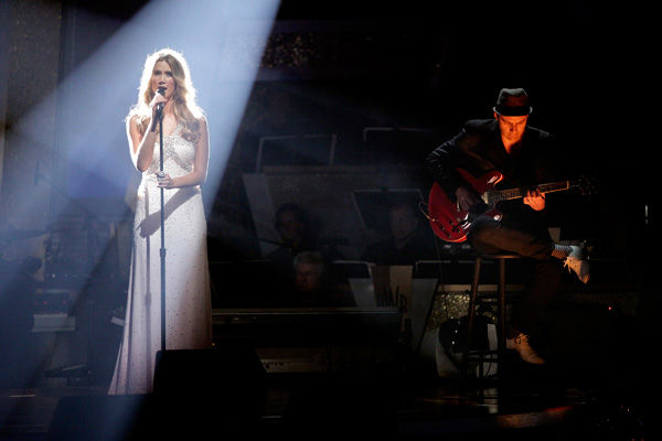 Australian singer Delta Goodremstepped in for Grammy Award-winning artist Adele, who -- according to host Tom Bergeron -- was &#34;under the weather,&#34; and sang the classic ballad &#34;Natural Woman.&#34; She was accompanied by Cheryl Burke and Louis Van Amstel on the dance floor.  <span class=meta>(ABC Photo&#47; Adam Taylor)</span>