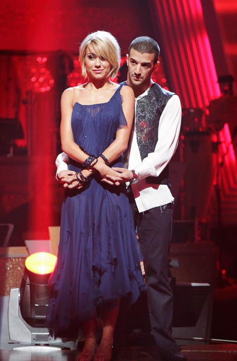 "<div class=""meta image-caption""><div class=""origin-logo origin-image ""><span></span></div><span class=""caption-text""> Chelsea Kane and her partner Mark Ballas await possible elimination. The couple received 29 out of  30 for their Waltz and 26 points out of 30 for their Salsa, making their score a total of 55 out of  60 on week eight of 'Dancing With The Stars' on Monday, May 10, 2011.  (ABC Photo/ Adam Taylor)</span></div>"