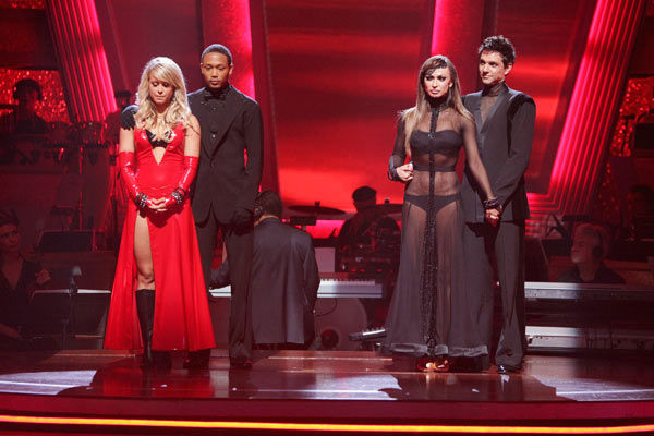 "<div class=""meta ""><span class=""caption-text "">Romeo and his partner Chelsie Hightower and Ralph Macchio and his partner Karina Smirnoff await possible elimination. (ABC Photo/ Adam Taylor)</span></div>"