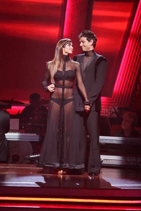 "<div class=""meta image-caption""><div class=""origin-logo origin-image ""><span></span></div><span class=""caption-text"">Ralph Macchio and his partner Karina Smirnoff await possible elimination. The couple received 25 out  of 30 for their Argentine Tango and 21 points out of 30 for their Cha Cha, making their score a  total of 56 out of 60 on week eight of 'Dancing With The Stars' on Monday, May 10, 2011.  (ABC Photo/ Adam Taylor)</span></div>"