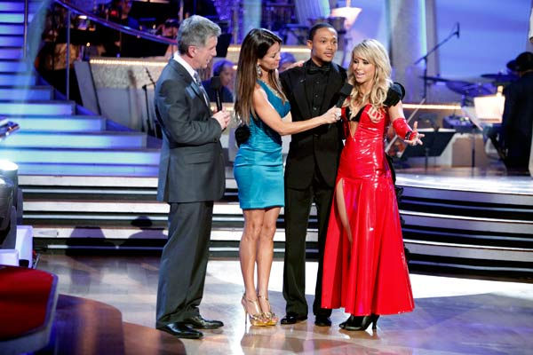 Romeo and his partner Chelsie Hightower react to being eliminated. The couple received 27 out of 30 for their Argentine Tango and 25 points out of 30 for their Salsa, making their score a total of 52 out of 60 on week eight of 'Dancing With The Stars' on