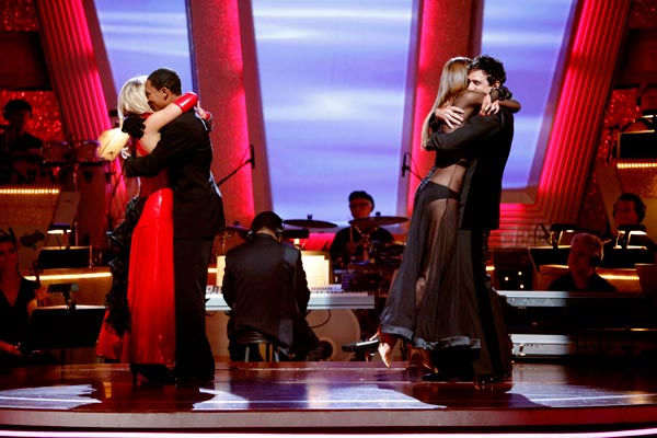 "<div class=""meta ""><span class=""caption-text "">Romeo and his partner Chelsie Hightower react to being eliminated and Ralph Macchio and his partner Karina Smirnoff react to being safe from elimination.  (ABC Photo/ Adam Taylor)</span></div>"