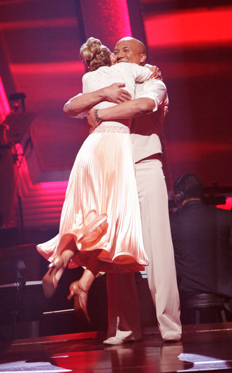 Hines Ward and his partner Kym Johnson react to being safe from elimination. The couple received 28  out of 30 for their Fox Trot and 26 points out of 30 for their Jive, making their score a total of  53 out of 60 on week eight of &#39;Dancing With The Stars&#39; on Monday, May 10, 2011. <span class=meta>(ABC Photo&#47; Adam Taylor)</span>