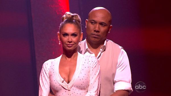 "<div class=""meta image-caption""><div class=""origin-logo origin-image ""><span></span></div><span class=""caption-text"">Hines Ward and his partner Kym Johnson await possible elimination. The couple received 28 out of 30 for their Fox Trot and 26 points out of 30 for their Jive, making their score a total of 53 out of 60 on week eight of 'Dancing With The Stars' on Monday, May 10, 2011. (ABC Photo)</span></div>"