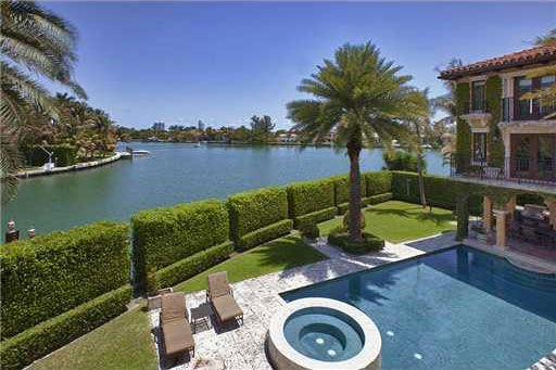 A pool outside Anna Kournikova's Miami Beach home. The seven-bedroom, eight-bathroom house is 6,600 square feet and was put on the market in the spring of 2011 for $9.4 million.