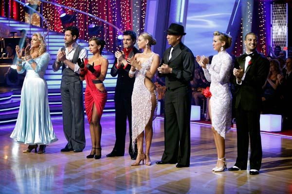 Kirstie Alley, Maksim Chmerkovskiy, Karina Smirnoff, Ralph Macchio, Kym Johnson, Hines Ward, Chelsea Kane and Mark Ballas appear in a still from 'Dancing With The Stars' season 12, episode 9 which aired on Monday, April 16, 2011.