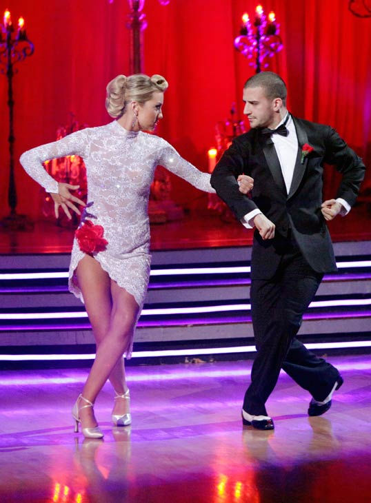 Chelsea Kane and her partner Mark Ballas dance...