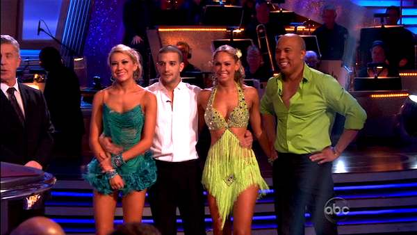 Hines Ward and his partner Kym Johnson won the first round of the Instant Cha Cha, beating Ralph Macchio and his partner Karina Smirnoff. Ward and Johnson then went up against the second round winners, Chelsea Kane and her partner Mark Ballas, who beat out Ralph Macchio and his partner Karina Smirnoff. Kane and Ballas eventually earned an extra 15 points for winning the Instant Cha Cha round.  <span class=meta>(ABC Photo)</span>