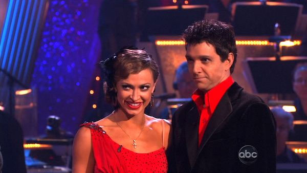 Ralph Macchio and his partner Karina Smirnoff dance an Argentine Tango, a Salsa and an Instant Cha Cha on week nine of &#39;Dancing With The Stars.&#39; The judges gave the couple 25 out of 30 for their Argentine Tango and 23 points out of 30 for their Salsa. The couple earned a total of 48 out of 60. <span class=meta>(ABC Photo)</span>