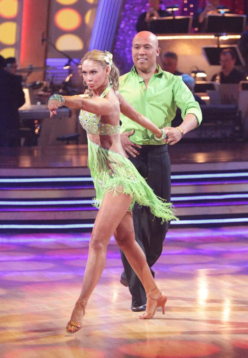 Hines Ward and his partner Kym Johnson dance a Tango, a Salsa and an Instant Cha Cha on week nine of 'Dancing With The Stars.' The judges gave the couple 30 out of 30 for their Argentine Tango and 30 points out of 30 for their Salsa. The couple earned a t