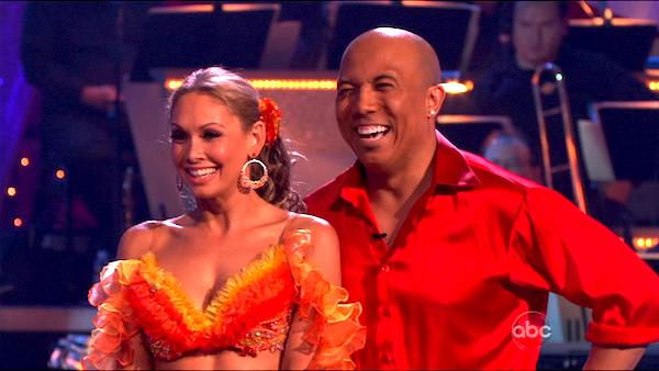 "<div class=""meta ""><span class=""caption-text "">Hines Ward and his partner Kym Johnson dance a Tango, a Salsa and an Instant Cha Cha on week nine of 'Dancing With The Stars.' The judges gave the couple 30 out of 30 for their Argentine Tango and 30 points out of 30 for their Salsa. The couple earned a total of 60 out of 60. (ABC Photo)</span></div>"