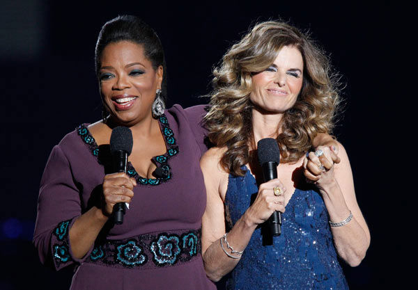 Maria Shriver appears with Oprah Winfrey during a star-studded double-taping of 'Surprise Oprah! A Farewell Spectacular,' Tuesday, May 17, 2011, in Chicago.