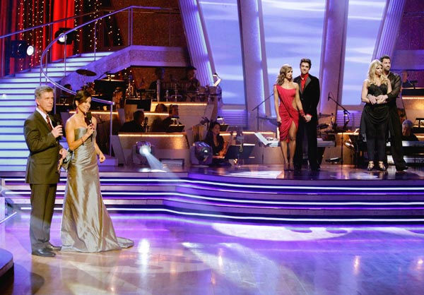 Kirstie Alley, Maksim Chmerkovskiy, Ralph Macchio and his partner Karina Smirnoff await possible elimination on &#39;Dancing With The Stars: The Result Show&#39; on Tuesday, May 17, 2011. <span class=meta>(ABC Photo&#47; Adam Taylor)</span>